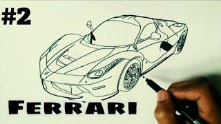 Menggambar Mobil Sport Ferrari Menggunakan Spidol Part2 Youtube