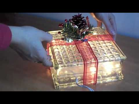 lighted holiday glass block youtube. Black Bedroom Furniture Sets. Home Design Ideas