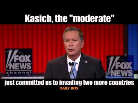 Kasich, the  moderate , just committed us to invading two more countries