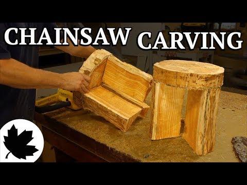Two Stools From One Log!  ||  Indoor Chainsaw Carving, Dewalt Flexvolt Test