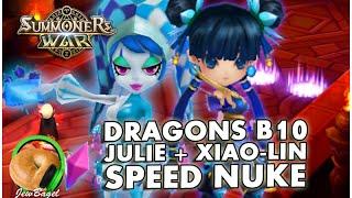 summoners war dragons b10 under 90 seconds speed team w julie xiao lin