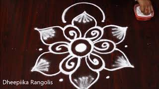beautifull freehand flower rangoli design without dots * simple & easy kolam * daily muggulu