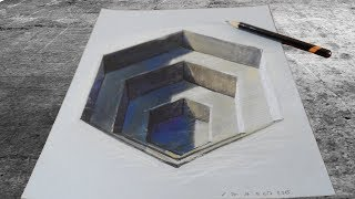 HOW TO DRAW 3D HEXAGONAL HOLE - Drawing an Anamorphic Illusion