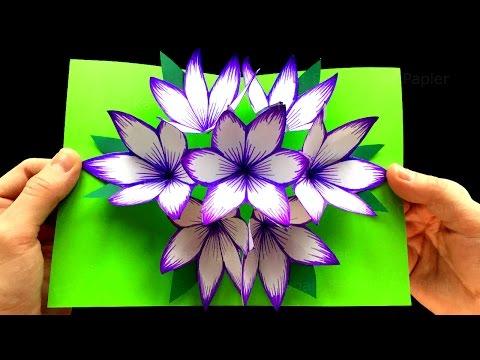 Basteln mit Papier: DIY Blumen Pop-Up Karten - 3D - DIY Geschenke selber machen. Blume Muttertag