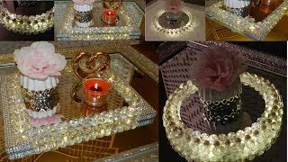 Dollar Tree DIY Diamonds and Pearls Vanity Trays|  DIY Elegant Room Decor Ideas 2019