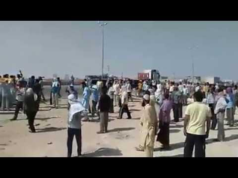 Saad company Abqaiq Dammam road block
