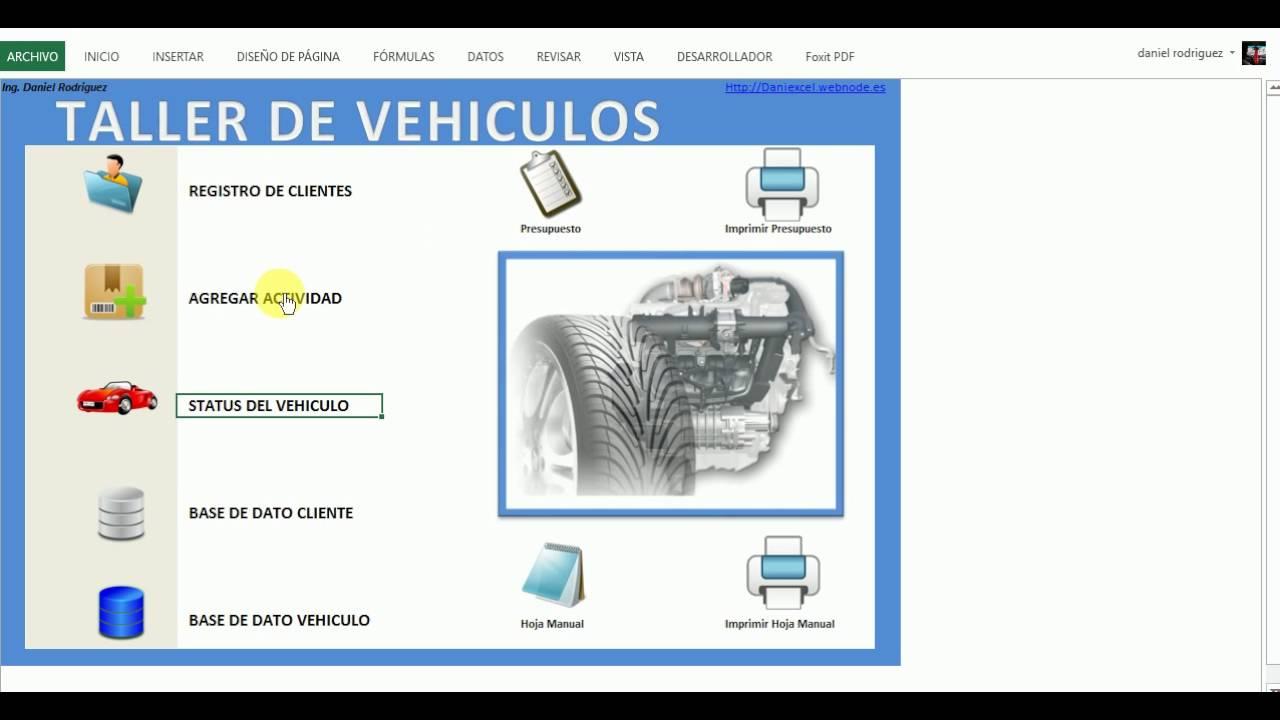 EXCEL sistema para taller de Vehiculos tipo Inventario - YouTube