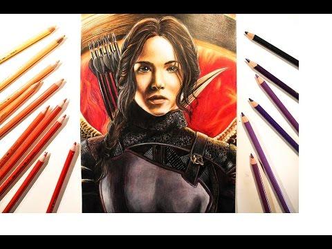 Speed Drawing Katniss Everdeen (Jennifer Lawrence) The