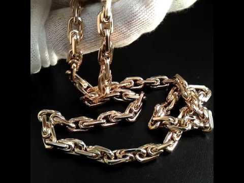 Цепочка золотая плетение Московский бит на заказ из красного золота 585 пробы, длина 65 см., вес 80