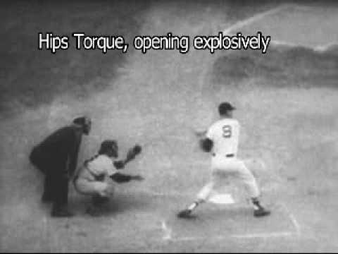 ted williams swing in slo motion with breakdown of rotational mechanics