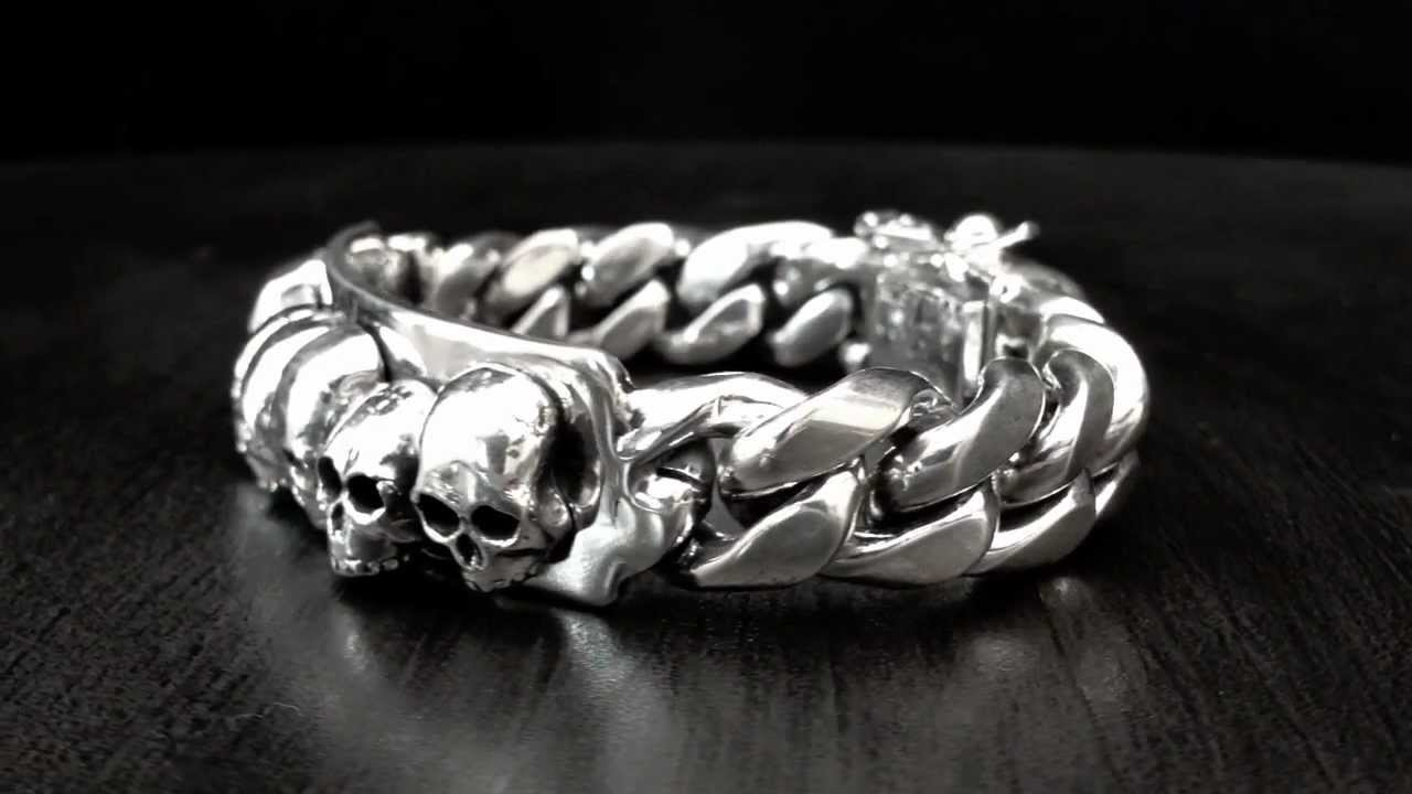 Dont Around 925 Solid Sterling Silver Skull Bracelet Soffer Ari You