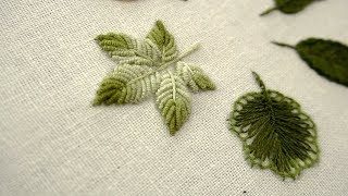 HAND EMBROIDERY LEAVES FOR BEGINNERS : 06 Types of Leaves
