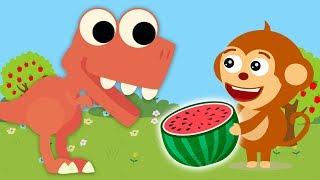 Funny Monkey Family treated dinosaur Watermelon