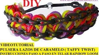 Repeat youtube video COMO HACER PULSERA ELÁSTICA MODELO TAFFY TWIST EN TELAR RAINBOW LOOM TUTORIAL ESPAÑOL DIY