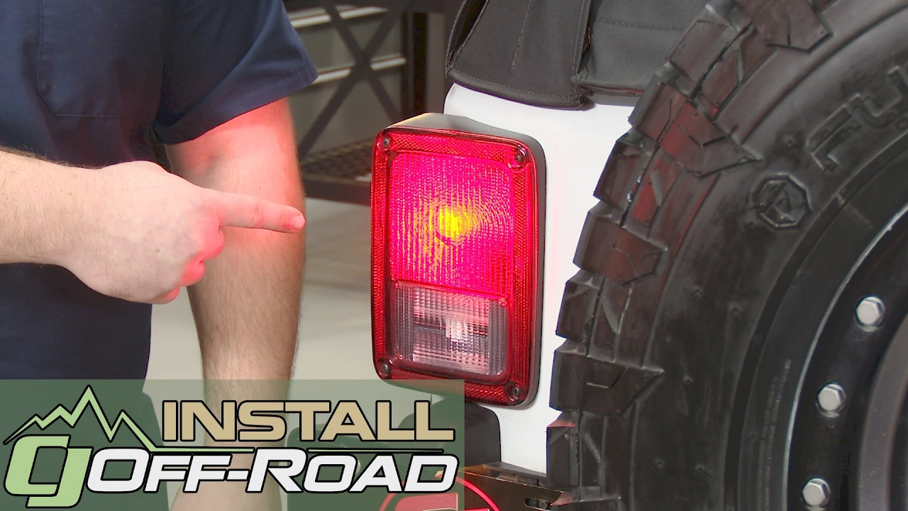 jeep wrangler jk taillight and rear turn signal bulb led red pair 2007 2018 installation [ 1280 x 720 Pixel ]