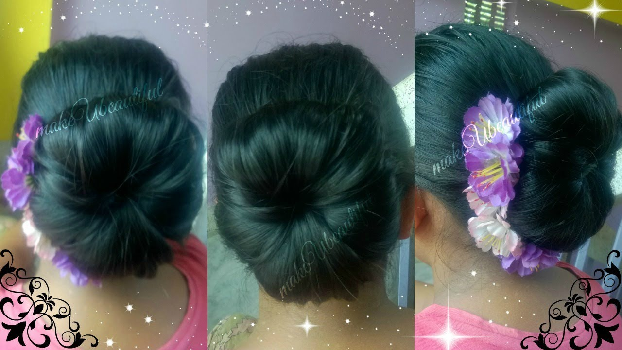 Easy Elegant Hair Bun For Mediumlong Hair Tutorialindian