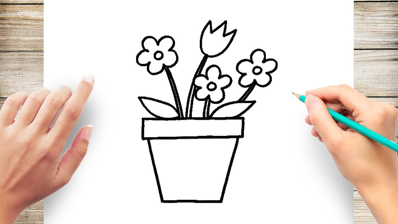 How To Draw Flowerpot Easy Youtube