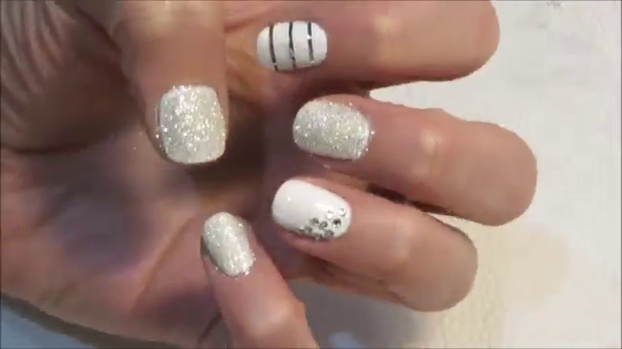 DIY white wedding silver line nail polish tutorial - YouTube