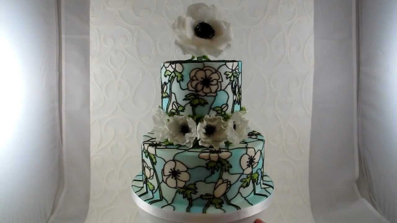 Anemone Stained Glass Wedding Cake  YouTube