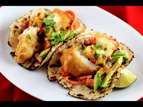 Crispy Fish Tacos W/ Peach'o De Gallo & Chipotle-Lime Slaw | CarnalDish