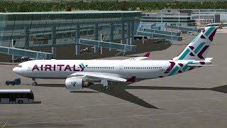 FSX: Air Italy Airbus A 330-200 in atterraggio e decollo da Torino Caselle