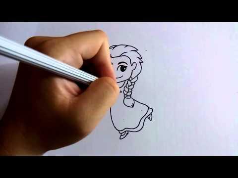 วาดการ์ตูนกันเถอะ สอนวาดการ์ตูน เอลซ่า เจ้าหญิงหิมะ ง่ายๆ หัดวาดตามได้