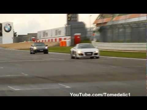 Ferrari 458 Italia Vs Audi R8 w/ Capristo Exhaust - Fast And Loud Flyby's!!