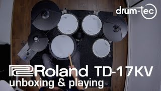 Roland TD-17KV electronic drum kit unboxing & playing by drum-tec