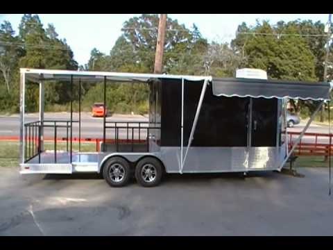 8.5 Ft. X 24 Ft. Black Concession Trailer Barbecue Smoker With Porch