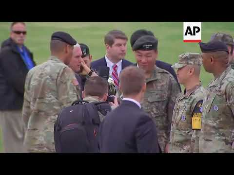 Raw: Pence Visits Base near Demilitarized Zone