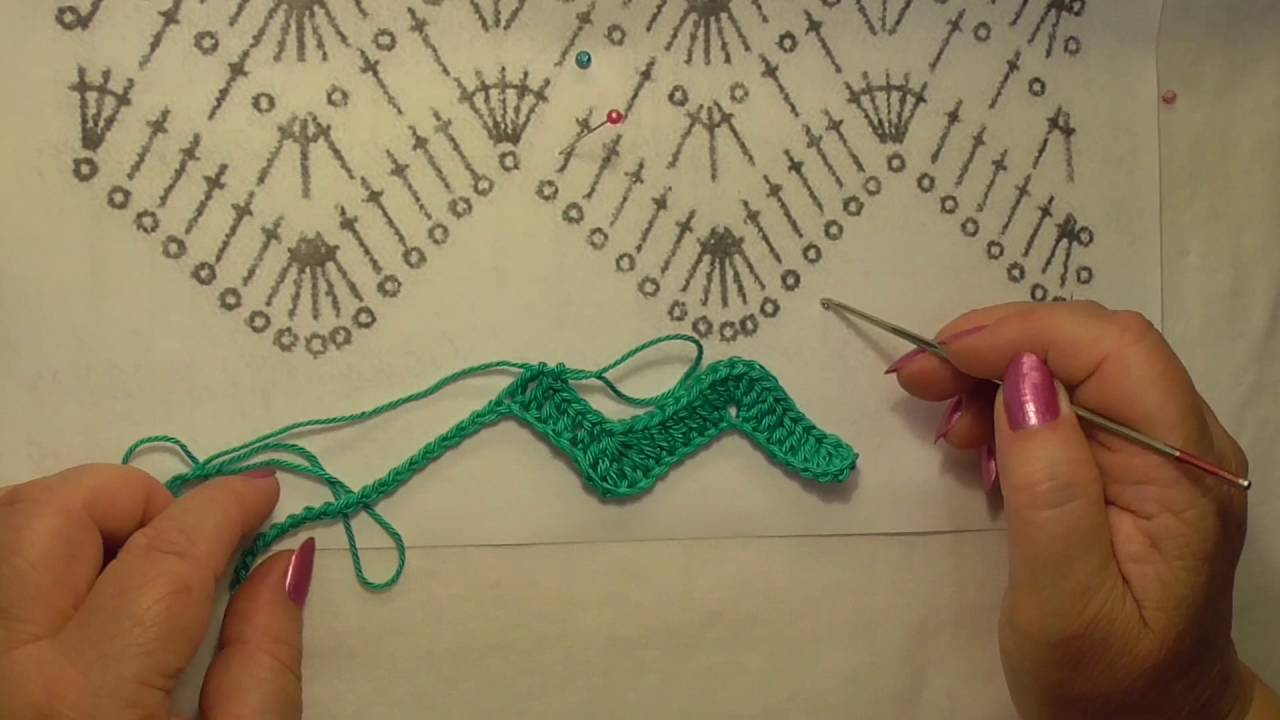 Научу вязать крючком! Урок 14. Вяжем по схеме узор зигзаг