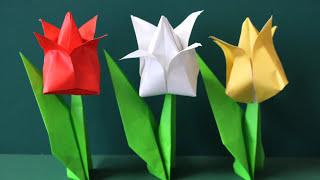 "Origami ""3D Tulip"" 折り紙 「立体チューリップ」 ▽My Origami Channel ..."
