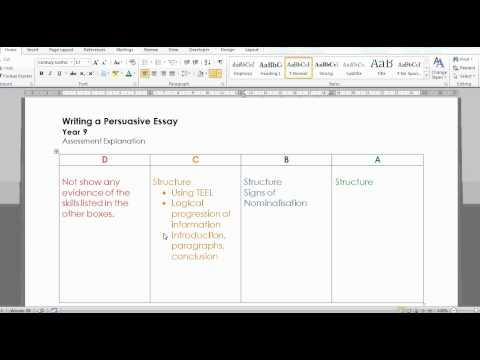 Writing a Persuasive Essay- Assessment Criteria