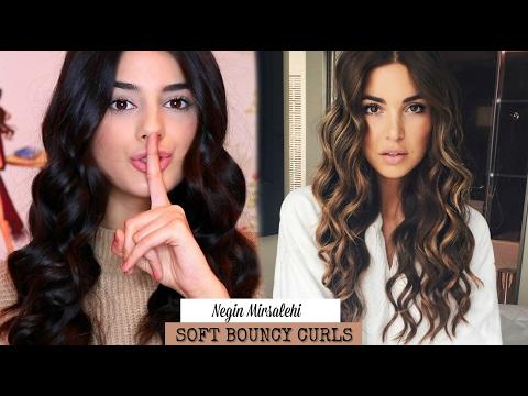 ♡ Negin Mirsalehi Hair Tutorial  Soft Bouncy Curls  Melody Sedgh