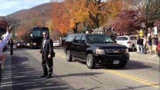 President Obama Motorcade in Downtown Boone NC