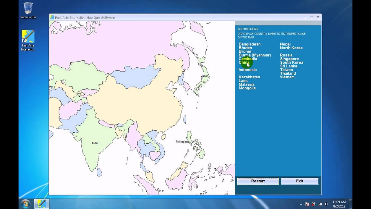 How To Use East Asia Interactive Map Quiz Software Youtube