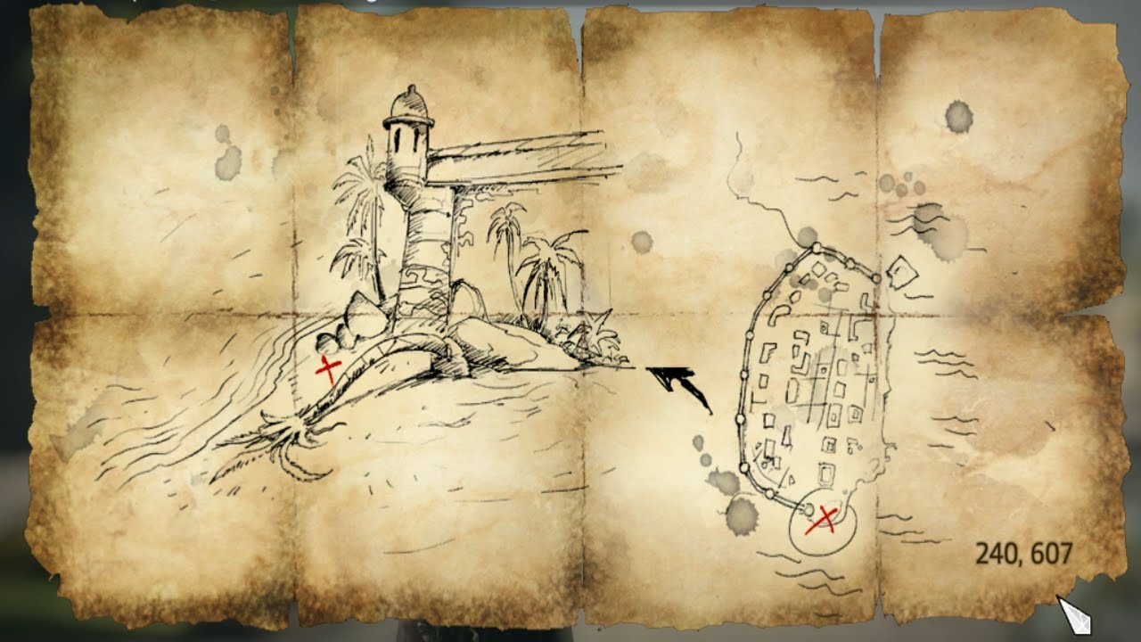 Assassins Creed Iv Black Flag Treasure Map 240 607 Youtube