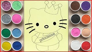 Đồ chơi trẻ em TÔ MÀU TRANH CÁT HELLO KITTY LÀM HOA HẬU - Coloring kitty princess toys (Chim Xinh)