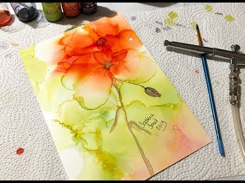 #108 Alcohol ink & Airbrush Red flowers with green on Yupo paper