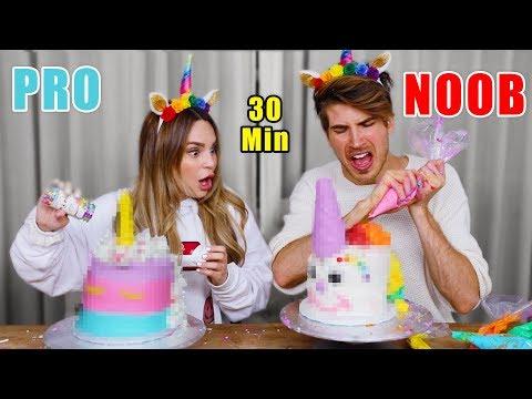 Noob vs Pro Unicorn Cake Challenge! w/ Rosanna Pansino