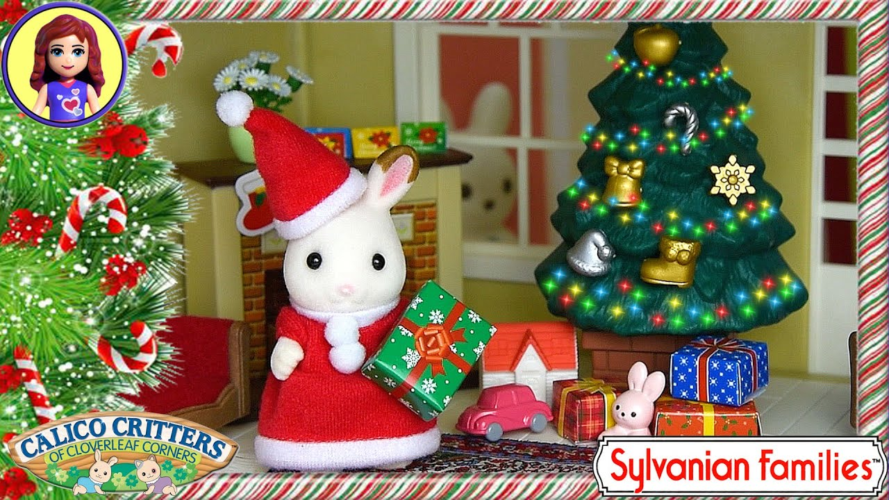 Christmas Set.Sylvanian Families Calico Critters Christmas Set Unboxing Setup Play Kids Toys