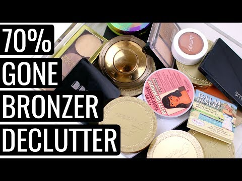 MAKEUP DECLUTTER 2018! BRONZERS AND FACE PALETTES