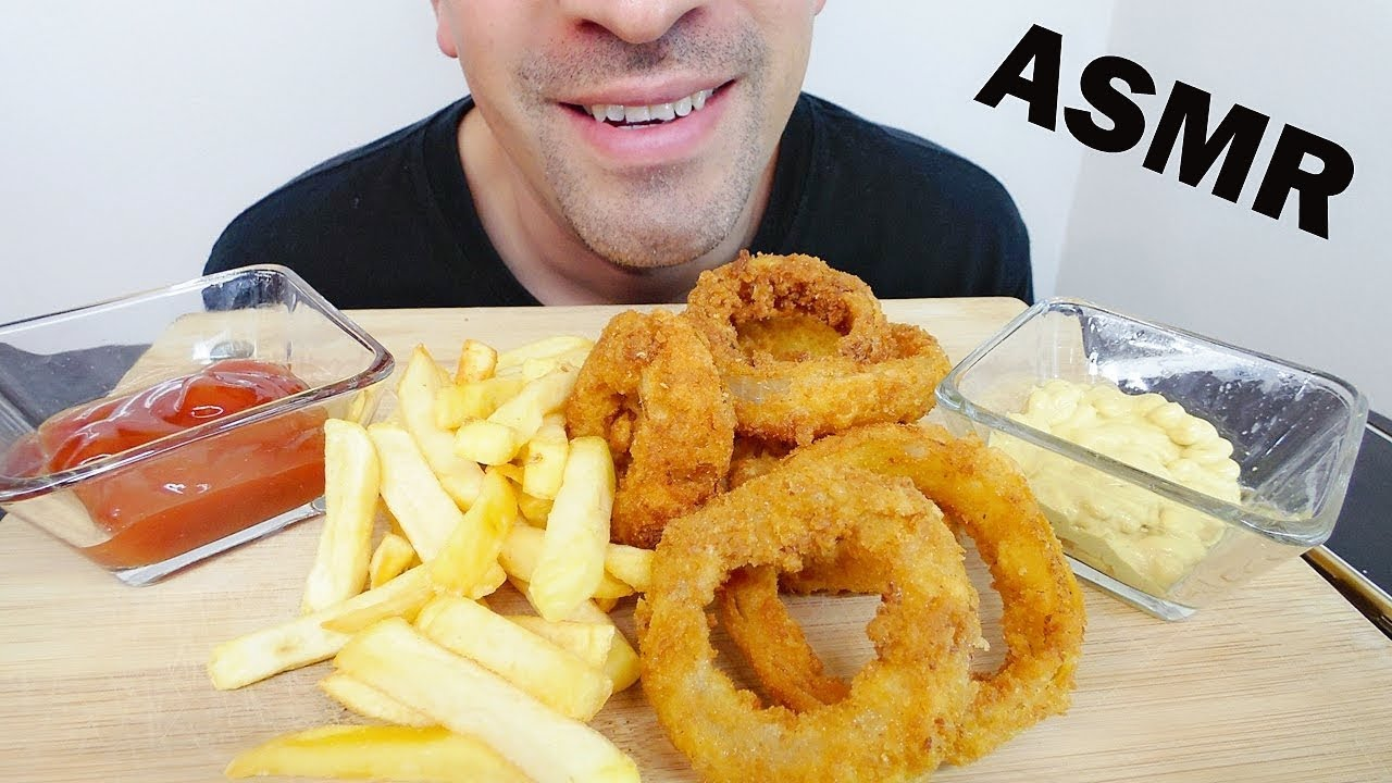Onion Rings With French Fries Asmr Crunchy Eating Sounds No Talking Man Asmr