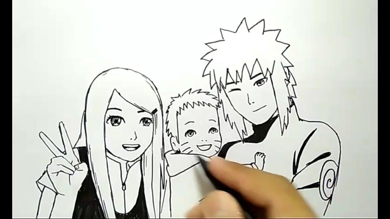 Cara menggambar keluarga naruto minato how to draw naruto minato family