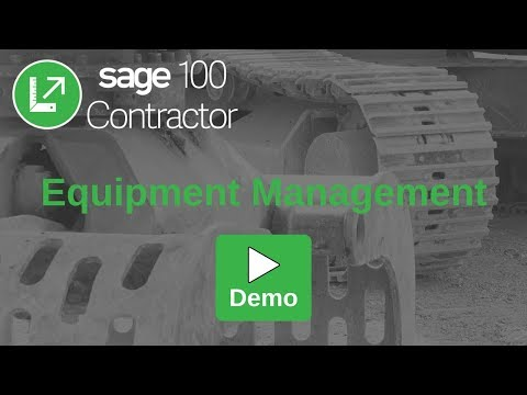 Demo Equipment Management | Sage 100 Contractor Equipment Module