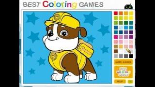 Мультик игра Щенячий патруль: Раскраска Крепыш (Paw Patrol Rubble Coloring)