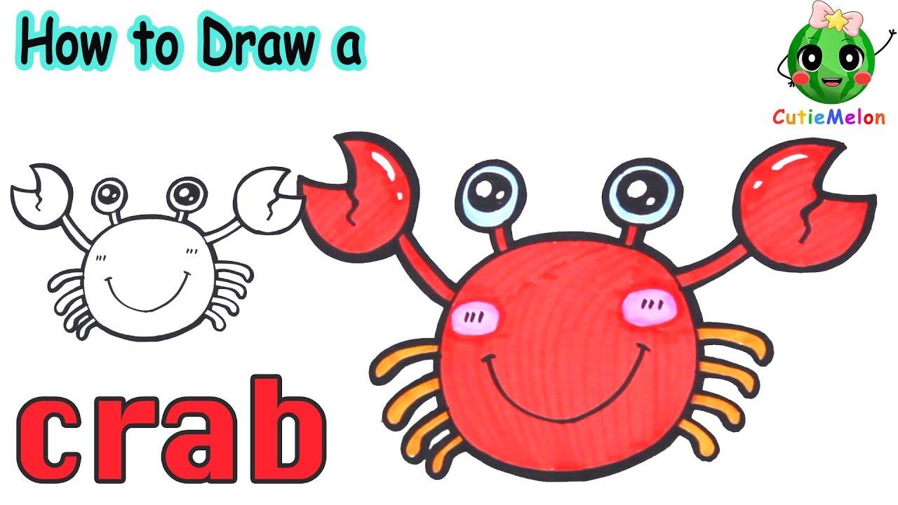 學畫可愛的螃蟹 邊畫畫邊學英語 Drawing Cute Crab 【西瓜寶寶學畫畫學英語】兒童繪畫 簡筆畫教程 - YouTube