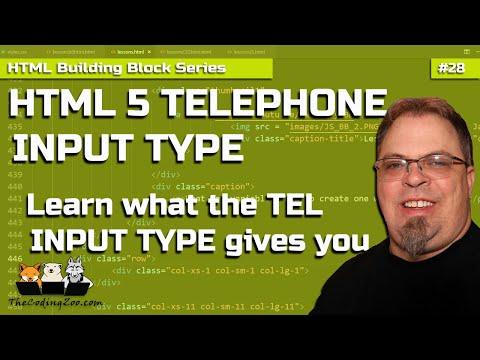 HTML 5 Telephone Input Type | Tel Input Type | HTML Building Blocks Lesson 28