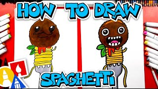 How To Draw Funny Spaghetti And Meatball On A Fork