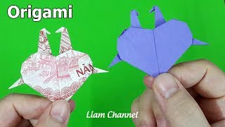 Instructed how to fold a couple of crane Origami Heart by Money | Liam Channel